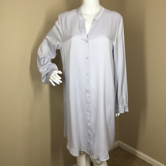 a40b1cdb021aaf Eileen Fisher Dresses | Silk Charmeuse Button Long Shirt | Poshmark
